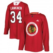 Adidas Chicago Blackhawks 34 Kevin Lankinen Authentic Red Home Practice Youth NHL Jersey