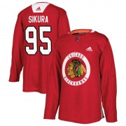 Adidas Chicago Blackhawks 95 Dylan Sikura Authentic Red Home Practice Youth NHL Jersey