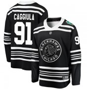 Fanatics Branded Chicago Blackhawks 91 Drake Caggiula Black 2019 Winter Classic Breakaway Youth NHL Jersey
