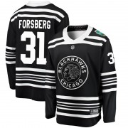 Fanatics Branded Chicago Blackhawks 31 Anton Forsberg Black 2019 Winter Classic Breakaway Youth NHL Jersey