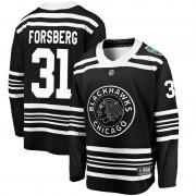Fanatics Branded Chicago Blackhawks 31 Anton Forsberg Black 2019 Winter Classic Breakaway Youth NHL Jersey