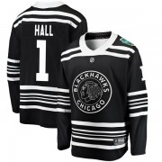 Fanatics Branded Chicago Blackhawks 1 Glenn Hall Black 2019 Winter Classic Breakaway Youth NHL Jersey