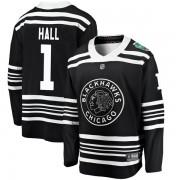 Fanatics Branded Chicago Blackhawks 1 Glenn Hall Black 2019 Winter Classic Breakaway Youth NHL Jersey