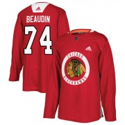 Adidas Chicago Blackhawks 74 Nicolas Beaudin Authentic Red ized Home Practice Men's NHL Jersey