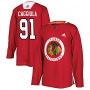 Adidas Chicago Blackhawks 91 Drake Caggiula Authentic Red Home Practice Men's NHL Jersey
