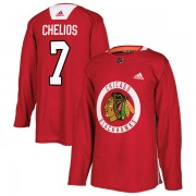 Adidas Chicago Blackhawks 7 Chris Chelios Authentic Red Home Practice Men's NHL Jersey
