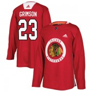 Adidas Chicago Blackhawks 23 Stu Grimson Authentic Red Home Practice Men's NHL Jersey