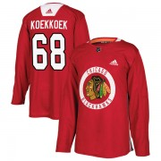 Adidas Chicago Blackhawks 68 Slater Koekkoek Authentic Red Home Practice Men's NHL Jersey