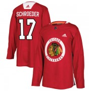 Adidas Chicago Blackhawks 17 Jordan Schroeder Authentic Red Home Practice Men's NHL Jersey