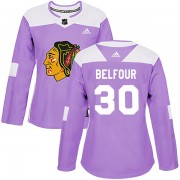 Adidas Chicago Blackhawks 30 ED Belfour Authentic Purple Fights Cancer Practice Women's NHL Jersey