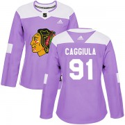 Adidas Chicago Blackhawks 91 Drake Caggiula Authentic Purple Fights Cancer Practice Women's NHL Jersey