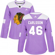 Adidas Chicago Blackhawks 46 Jonathan Carlsson Authentic Purple Fights Cancer Practice Women's NHL Jersey