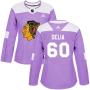 Adidas Chicago Blackhawks 60 Collin Delia Authentic Purple Fights Cancer Practice Women's NHL Jersey