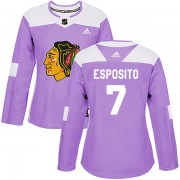 Adidas Chicago Blackhawks 7 Phil Esposito Authentic Purple Fights Cancer Practice Women's NHL Jersey