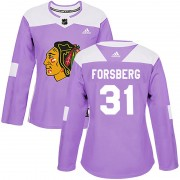 Adidas Chicago Blackhawks 31 Anton Forsberg Authentic Purple Fights Cancer Practice Women's NHL Jersey