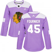 Adidas Chicago Blackhawks 45 Dillon Fournier Authentic Purple Fights Cancer Practice Women's NHL Jersey