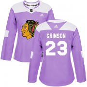 Adidas Chicago Blackhawks 23 Stu Grimson Authentic Purple Fights Cancer Practice Women's NHL Jersey