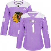 Adidas Chicago Blackhawks 1 Glenn Hall Authentic Purple Fights Cancer Practice Women's NHL Jersey