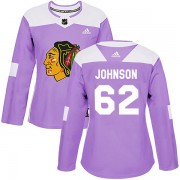 Adidas Chicago Blackhawks 62 Luke Johnson Authentic Purple Fights Cancer Practice Women's NHL Jersey