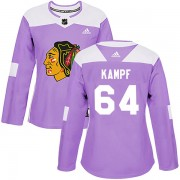 Adidas Chicago Blackhawks 64 David Kampf Authentic Purple Fights Cancer Practice Women's NHL Jersey