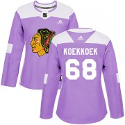 Adidas Chicago Blackhawks 68 Slater Koekkoek Authentic Purple Fights Cancer Practice Women's NHL Jersey