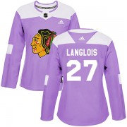 Adidas Chicago Blackhawks 27 Jeremy Langlois Authentic Purple Fights Cancer Practice Women's NHL Jersey