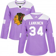 Adidas Chicago Blackhawks 34 Kevin Lankinen Authentic Purple Fights Cancer Practice Women's NHL Jersey