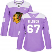 Adidas Chicago Blackhawks 67 Jacob Nilsson Authentic Purple Fights Cancer Practice Women's NHL Jersey