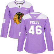 Adidas Chicago Blackhawks 46 Robin Press Authentic Purple Fights Cancer Practice Women's NHL Jersey