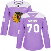 Adidas Chicago Blackhawks 70 Tyler Sikura Authentic Purple Fights Cancer Practice Women's NHL Jersey