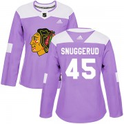 Adidas Chicago Blackhawks 45 Luc Snuggerud Authentic Purple Fights Cancer Practice Women's NHL Jersey