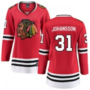 Fanatics Branded Chicago Blackhawks 31 Lars Johansson Red Breakaway Home Women's NHL Jersey