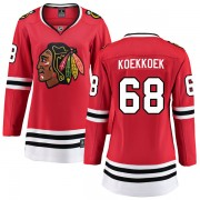 Fanatics Branded Chicago Blackhawks 68 Slater Koekkoek Red Breakaway Home Women's NHL Jersey