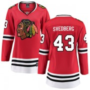 Fanatics Branded Chicago Blackhawks 43 Viktor Svedberg Red Breakaway Home Women's NHL Jersey
