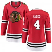 Fanatics Branded Chicago Blackhawks 4 Elmer Vasko Red Breakaway Home Women's NHL Jersey