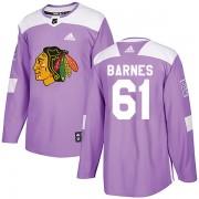 Adidas Chicago Blackhawks 61 Tyler Barnes Authentic Purple Fights Cancer Practice Men's NHL Jersey