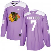 Adidas Chicago Blackhawks 7 Chris Chelios Authentic Purple Fights Cancer Practice Men's NHL Jersey