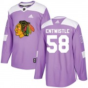 Adidas Chicago Blackhawks 58 Mackenzie Entwistle Authentic Purple ized Fights Cancer Practice Men's NHL Jersey