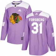 Adidas Chicago Blackhawks 31 Anton Forsberg Authentic Purple Fights Cancer Practice Men's NHL Jersey