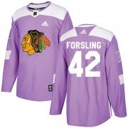 Adidas Chicago Blackhawks 42 Gustav Forsling Authentic Purple Fights Cancer Practice Men's NHL Jersey