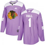 Adidas Chicago Blackhawks 1 Glenn Hall Authentic Purple Fights Cancer Practice Men's NHL Jersey