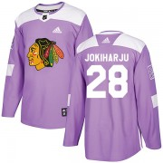 Adidas Chicago Blackhawks 28 Henri Jokiharju Authentic Purple Fights Cancer Practice Men's NHL Jersey