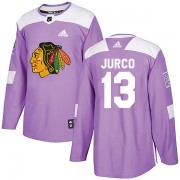 Adidas Chicago Blackhawks 13 Tomas Jurco Authentic Purple Fights Cancer Practice Men's NHL Jersey