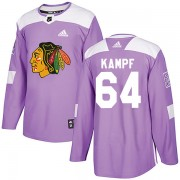Adidas Chicago Blackhawks 64 David Kampf Authentic Purple Fights Cancer Practice Men's NHL Jersey