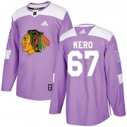 Adidas Chicago Blackhawks 67 Tanner Kero Authentic Purple Fights Cancer Practice Men's NHL Jersey