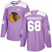 Adidas Chicago Blackhawks 68 Slater Koekkoek Authentic Purple Fights Cancer Practice Men's NHL Jersey