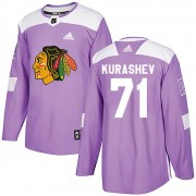 Adidas Chicago Blackhawks 71 Philipp Kurashev Authentic Purple ized Fights Cancer Practice Men's NHL Jersey