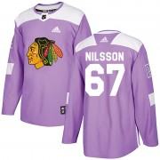 Adidas Chicago Blackhawks 67 Jacob Nilsson Authentic Purple Fights Cancer Practice Men's NHL Jersey