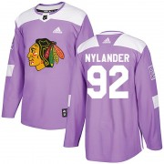 Adidas Chicago Blackhawks 92 Alexander Nylander Authentic Purple Fights Cancer Practice Men's NHL Jersey