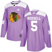 Adidas Chicago Blackhawks 5 Phil Russell Authentic Purple Fights Cancer Practice Men's NHL Jersey